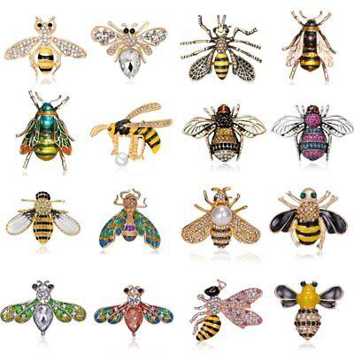 Rhinestone Bee Pin - Delicate Little Bee Insect Crystal Rhinestone Collar Brooch Pin Women Jewelry