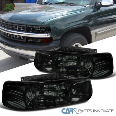 For Chevy 99-02 Silverado 00-06 Suburban Tahoe Smoke Headlights Driving Lamps