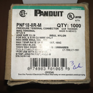 PANDUIT PNF18-8R-M PRESSURE TERMINAL CONNECTOR (1000 Qty) 31534