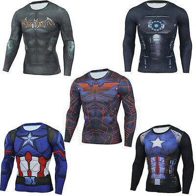 Men Compression Captain America 3D Printed Tee T-Shirts Gym Sports Jersey Tops (Captain America Long Sleeve)