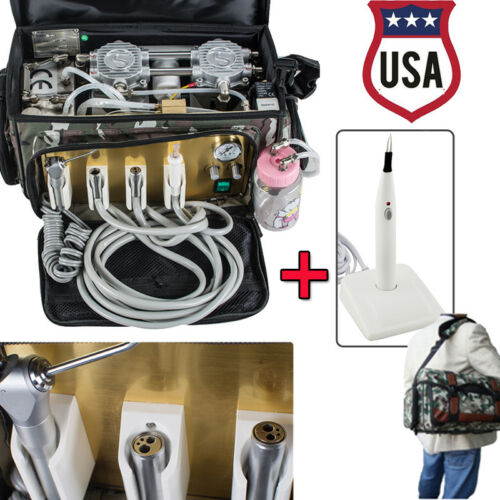 NEW PORTABLE DENTAL UNIT WITH AIR COMPRESSOR SUCTION 3 WAY SYRINGE +GUTTA CUTTER USA