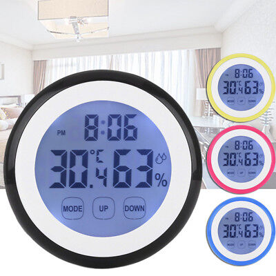 Wall Clock Digital Humidity Timer Thermometer Alarm Clocks F