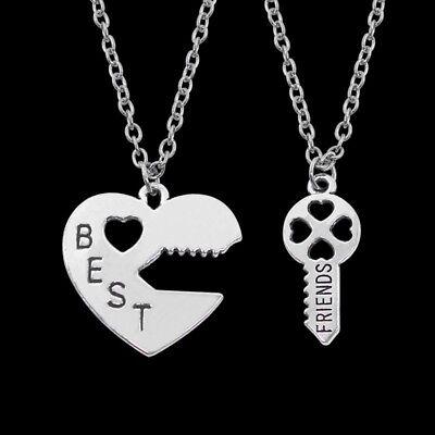 BFF Silver Heart Lock and Key Best Friend Set Pendants Friendship 2 Necklace