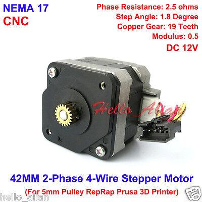 Nema 17 Stepper Motor Cnc Shaft For 5mm Pulley Reprap Prusa Rostock 3d Printer