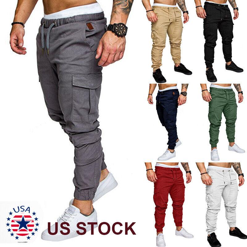 Mens Joggers Pants Sweatpants Cargo Combat Loose Active Sport Workout Trousers