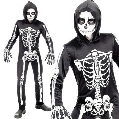 Skelett Kostüm für Kinder schwarz-weiß Halloween Karneval Fasching - PREISHIT -