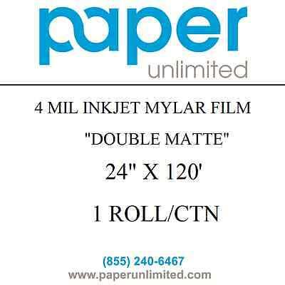 """4 Mil Inkjet Mylar Film Double Matte 24"""" x 120' 2"""" Core 1 Roll HP Canon Epson"""