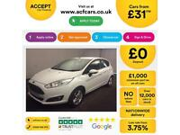 Ford Fiesta 1.0, 1.2, 1.4, EcoB Zetec Titanium WHITE, 5dr FROM £31 PER WEEK!