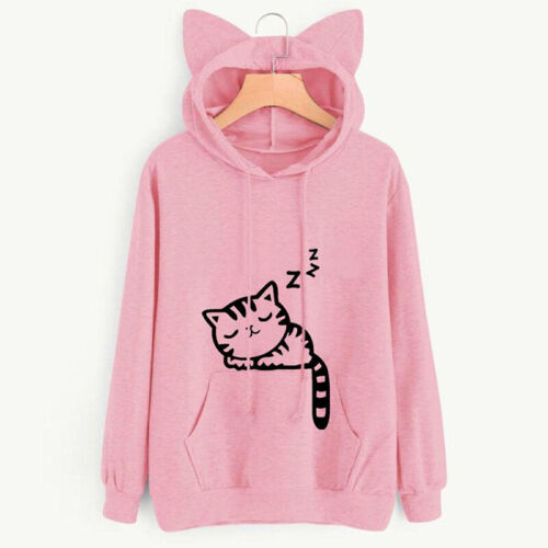 Damen Katze Kaputzenpullover Mantel Pullover Kapuze Hoodie Sweatshirt Hoody DE