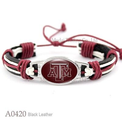 Texas A&M Aggies Tribal Leather Football Bracelet Pull Tie GRADUATION QUALITY - Texas A&m Graduation