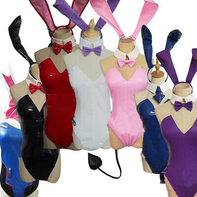 D.VA Fate Emilia Bunny Girl Bodysuit Outfit Cosplay Costume Black Stocking (Fat Girl Kostüm)