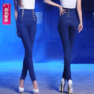 Cheap Women Blue Casual Plus Size High Waist Slim Skinny Pants ...