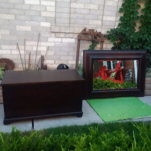 ANTIQUE CEDAR CHEST Or TRUNK + LARGE Wood MIRROR
