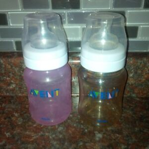 Used Avent Bottles + Nipples, Sterilizer and Formula Container