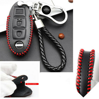 Black Geniue Leather Key Case Braided Chain for Nissan New Sylphy Sunshine Teana