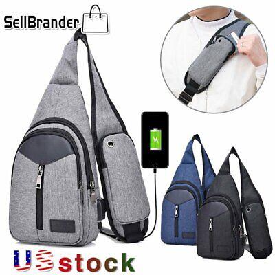 Men's Nylon Shoulder Bag Sling Chest Pack USB Charging Sports Crossbody Handbag Black Nylon Sling