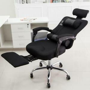 BlackHigh Back Breathable Mesh Office Chair Lift Swivel Chair With Footrest 251392