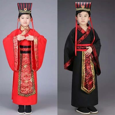 Chinese Boys Han Clothing Emperor Prince Show Cosplay Suit Robe Costume with Hat