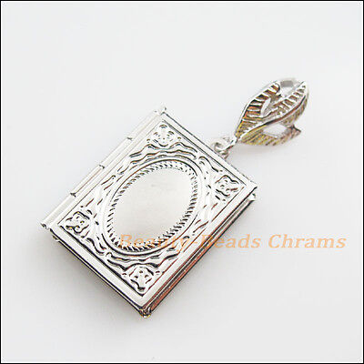 Square Picture Frame Charm (2Pc Dull Silver Plated Square Picture Locket Frame Charms Pendants)