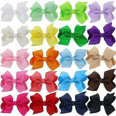"40 Pcs Baby Girls Kids 3"" Grosgrain Ribbon Boutique Hair Bows Alligator Clips"