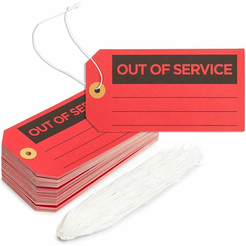 Out of Service Tags with Cotton String (Red, 5.75 x 3 in, 100 Pack)