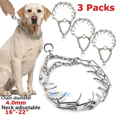 3Pack Dog Training Choke Chain Collar Adjustable Metal Steel Prong Pinch -