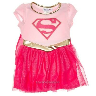 DC Comics Supergirl Superhero Girl Costume Logo Girls Pink Tutu Dress Cape 12 14 (Pink Super Girl Costume)