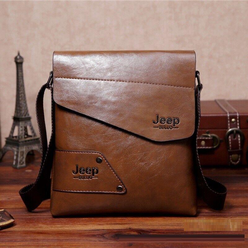 Jeep Leather Men's Cross body Shoulder Letter Casual Messenger Bag Handbag