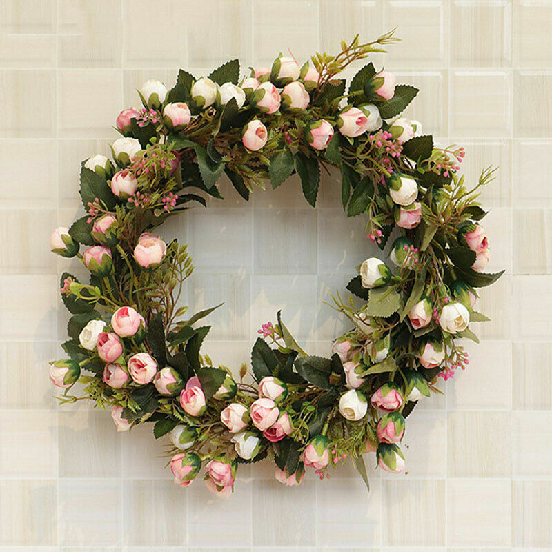 Home Decoration - Rose Flowers Door Wreath Wall Hanging Floral Wedding Party Home Decoration