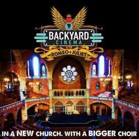 Romeo and Juliet - Backyard Cinema - Union Chapel - Friday 24 August 2018 - 2 tickets