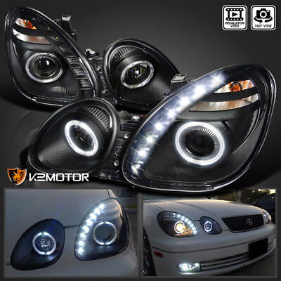 Fits 98-05 Lexus GS00 98-00 GS400 01-05 GS430 Black LED Halo Projector Headlight