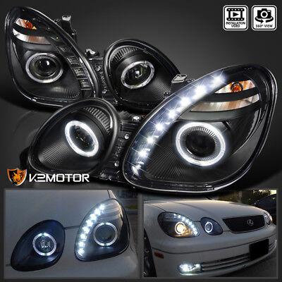 Fits 98-05 Lexus GS00 98-00 GS400 01-05 GS430 Black LED Halo Projector Headlight