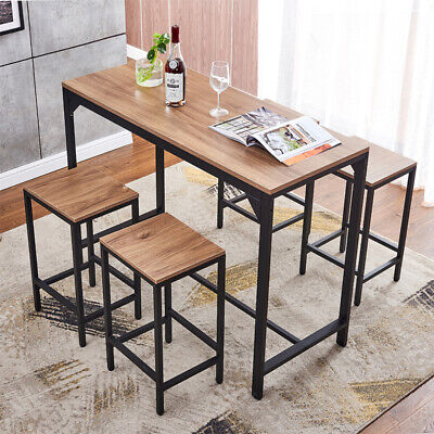 5 Piece Wood Dining Table Set w/4 Chairs Bar Breakfast Kitchen Home Furniture US