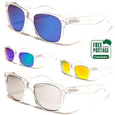 Retro Sunglasses - Mens / Womens - Clear Retro Frame - Mirror Lens - Free Post