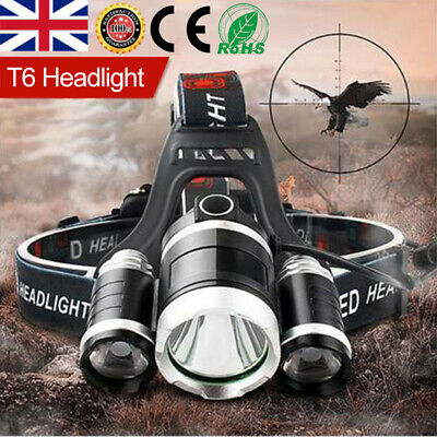 12000LM 3 x XML CREE T6 Rechargeable LED Head Torch Headlamp HeadLight Lamp 2020