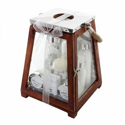 Geschenkset für Frauen mit Laterne aus Holz 9tlg. Körperpflege-Set mit Kerze