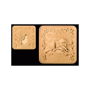 2006 $3 SQUARE GOLD PLATED BEAVER COIN - 2 Available