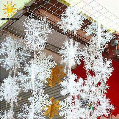 30pcs Snowflake White Ornaments Christmas Tree Decorations Home Festival Decor
