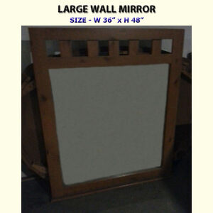 LARGE KNOTTY PINE WALL MIRROR - SOLID FRAME