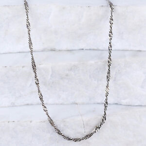 Sterling Silver Italy 3mm Twisted Singapore Chain Necklace