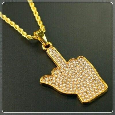 Gold Cz Crystal Finger Pendant Necklace Jewelry For Men Women Girls