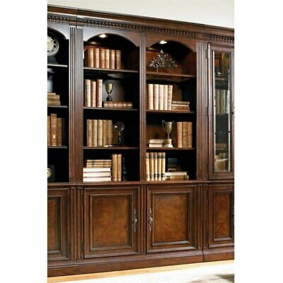 - Bowery Hill 4 Shelf Double Bookcase in Dark Brown and Rich Cherry