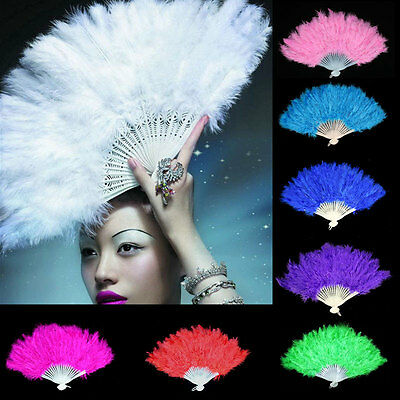 New Feather Fans Folding Women Dance Hand Fan Halloween Fancy Party Supplies - Plastic Hand Fans