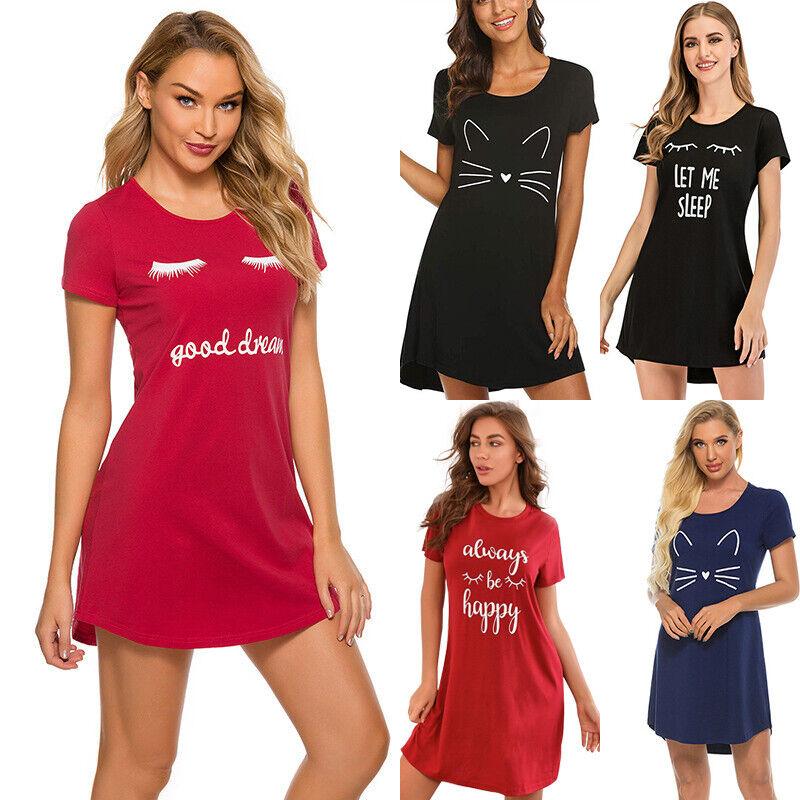 Short Sleeve Sleep Shirt Tee Pajama Top Sleep Dress Ladies Nightgown Nightshirt