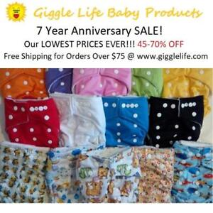 Giggle Life Cloth Diapers 7 Year Anniversary 45-70%Off Our Lowest Prices Ever - Reuseable Washable Baby Diapers 7-36lbs