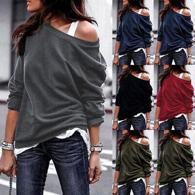 Womens Ladies Off Shoulder Jumper Sweatshirt Loose Slouch Oversized Hoodies Tops
