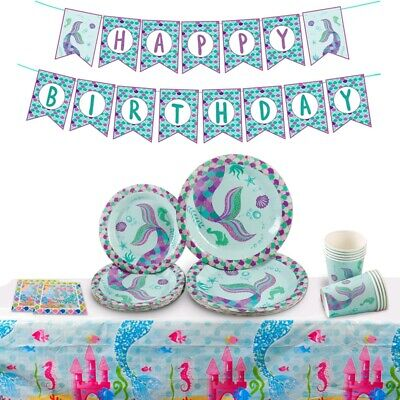 Mermaid Party Disposable Paper Tableware Cup Kids Birthday Party Decor Supplies
