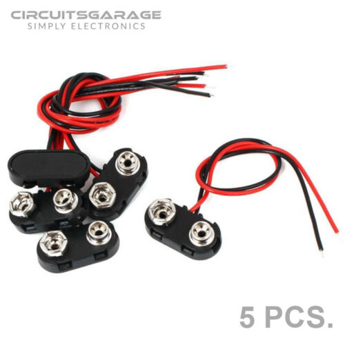 5 Pieces 9V Volts DC Snap On Battery Clip Adapter Connector T Type - USA