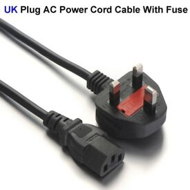 Qulaity UK power cable for TVs,PC units,monitors,printers,photocopiers,etc.only at £5 or 3 for £10