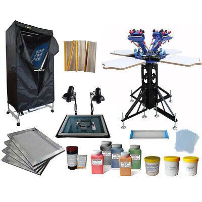 4 Color Printing Machine Screen Printing Press Kit Exposuredrying Cabinet Print